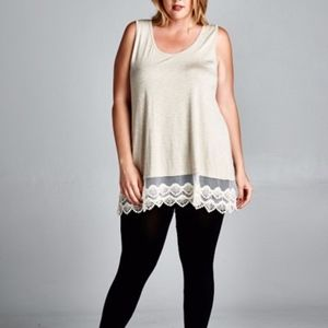 Sleeveless Tunic With Lace Trim: 1XL-3XL